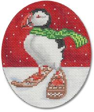 click here to view larger image of Puffin In Snowshoes Ornament (hand painted canvases)