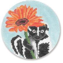 click here to view larger image of Skunk With Flower Ornament (hand painted canvases)