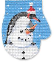 click here to view larger image of Building A Snowman Mitten Ornament (hand painted canvases)