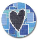 click here to view larger image of Blue Squares With Heart Ornament (on Gray canvas) (hand painted canvases)
