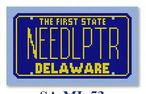 click here to view larger image of Mini License Plate - Delaware (hand painted canvases)