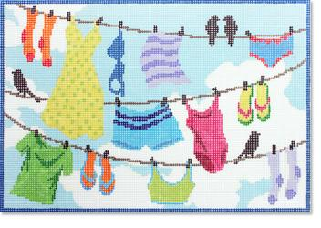 click here to view larger image of Clothes Line (hand painted canvases)