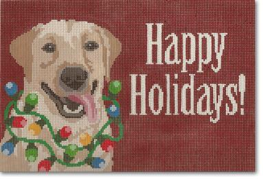 click here to view larger image of Happy Holidays with Dog (hand painted canvases)