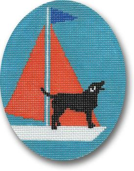 click here to view larger image of Black Lab - Orange Sail Ornament (hand painted canvases)