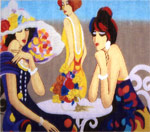click here to view larger image of 3 Fashionable Ladies - 18ct (hand painted canvases)
