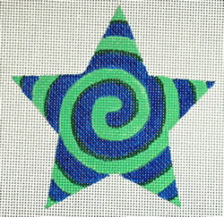 click here to view larger image of Blue/Green Spiral Star (hand painted canvases)