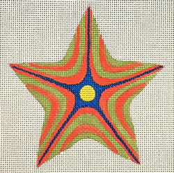 click here to view larger image of Coral/Green Striped Star (hand painted canvases)