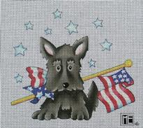 click here to view larger image of Flag Day Scottie (hand painted canvases)