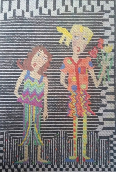 click here to view larger image of 2 Girls (hand painted canvases)