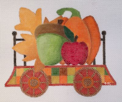 click here to view larger image of Autumn Train Flat Car (hand painted canvases)
