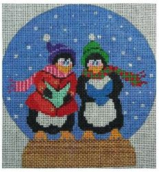 click here to view larger image of Snowglobe With Penguins Caroling (hand painted canvases)
