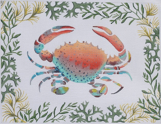 click here to view larger image of Lady Crab With Mixed Seaweeds Border (hand painted canvases)
