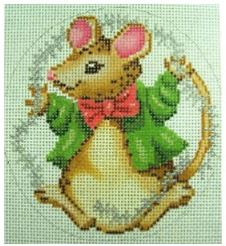 click here to view larger image of Christmas Mouse With Tinsel Ornament (hand painted canvases)