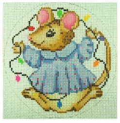 click here to view larger image of Christmas Mouse With Lights Ornament (hand painted canvases)