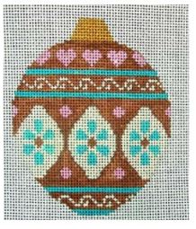 click here to view larger image of Brown and Pink Ornament (hand painted canvases)