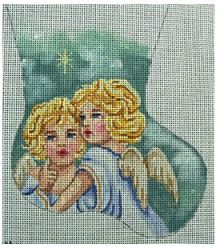 click here to view larger image of Angels and Star Mini Sock (hand painted canvases)