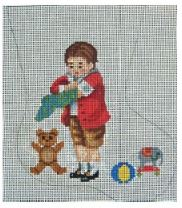 click here to view larger image of Boy and Toy Mini Sock (hand painted canvases)