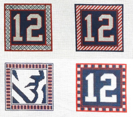 click here to view larger image of Football Fan Coasters - New England (hand painted canvases)