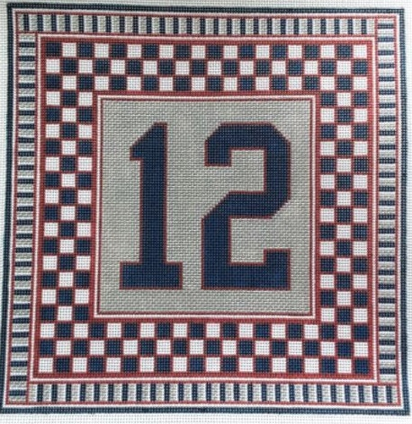 click here to view larger image of Football Fan Pillow A - New England (hand painted canvases)
