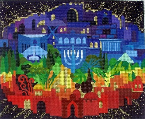 click here to view larger image of Jerusalem of Light Taleis Bag (hand painted canvases)