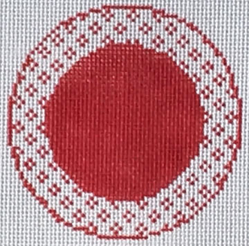 click here to view larger image of Red and White Round (hand painted canvases)