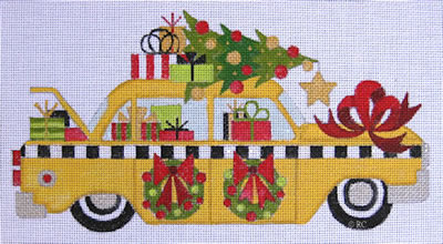 click here to view larger image of Christmas Taxi Cab (hand painted canvases)