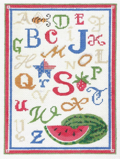 click here to view larger image of ABC Summer Linen Sampler (hand painted canvases)