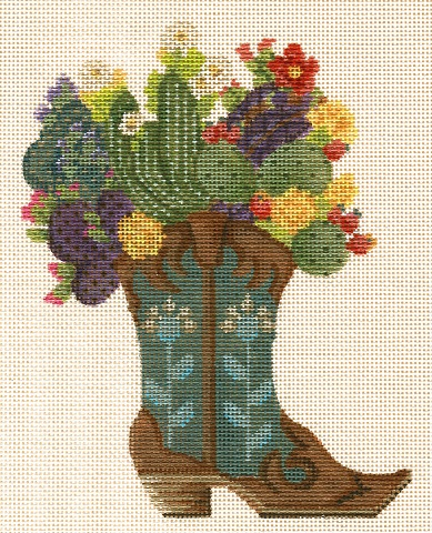click here to view larger image of Desert Blooms Boot (hand painted canvases)