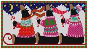 click here to view larger image of Black Bears on a Sled (hand painted canvases)