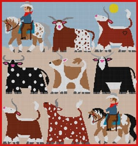 click here to view larger image of Cattle Drive (hand painted canvases)