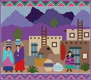 click here to view larger image of Indian Village (hand painted canvases)