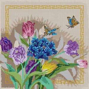 click here to view larger image of Tulips & Butterflies (hand painted canvases)