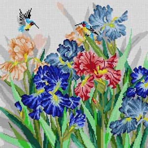 click here to view larger image of Iris & Hummingbirds (hand painted canvases)