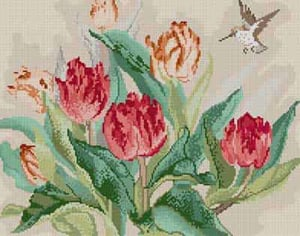 click here to view larger image of Tulips & Hummingbird (hand painted canvases)