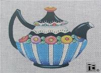 click here to view larger image of Black & Blue Tea Pot (hand painted canvases)