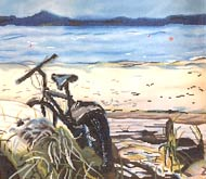 click here to view larger image of Bike on Beach (hand painted canvases)