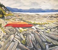 click here to view larger image of Kayaks on Beach (hand painted canvases)