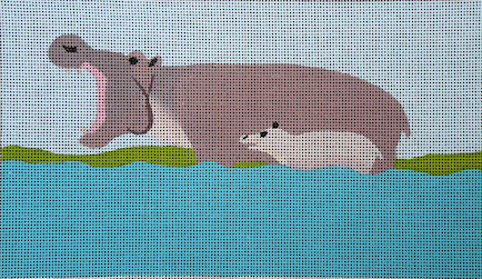 click here to view larger image of Hippos (hand painted canvases)