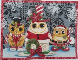 click here to view larger image of Christmas Owls (hand painted canvases)