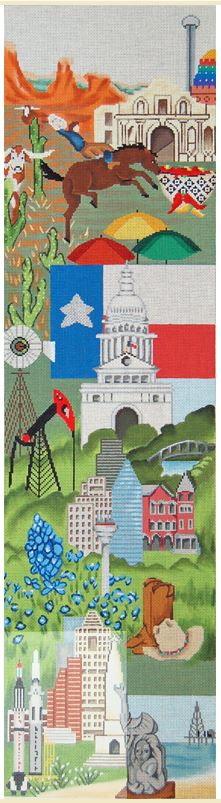 click here to view larger image of Bell Pull - Texas (hand painted canvases)