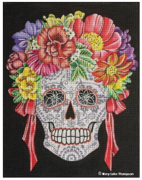 click here to view larger image of Flower Skull (hand painted canvases)