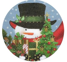 click here to view larger image of Acorn Snowman Ornament (hand painted canvases)