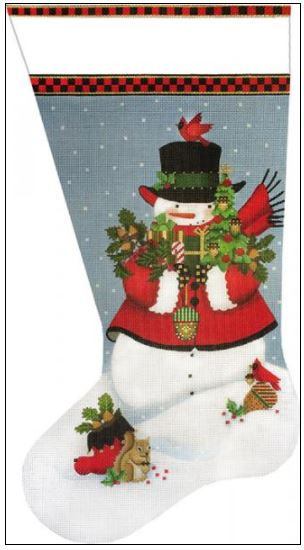 click here to view larger image of Acorn Snowman Sock (hand painted canvases)