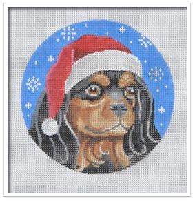 click here to view larger image of Black and Tan Cavalier Santa (hand painted canvases)