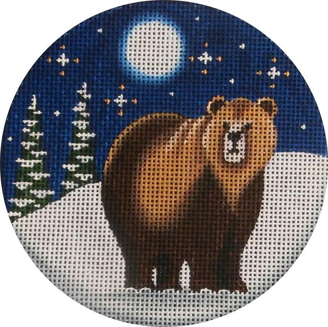 click here to view larger image of Grizzly Bear Ornament (hand painted canvases)