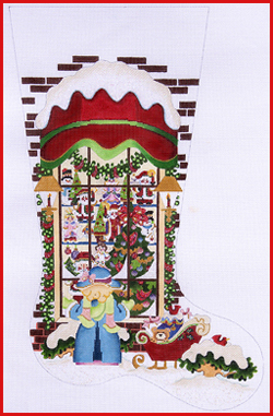 click here to view larger image of Christmas Shop Full Window Stocking - Girl - 13ct (None Selected)