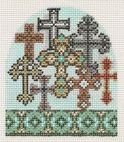 click here to view larger image of Christ Is Christmas Day 8 - 8 Crosses Gleaming 13M (hand painted canvases)