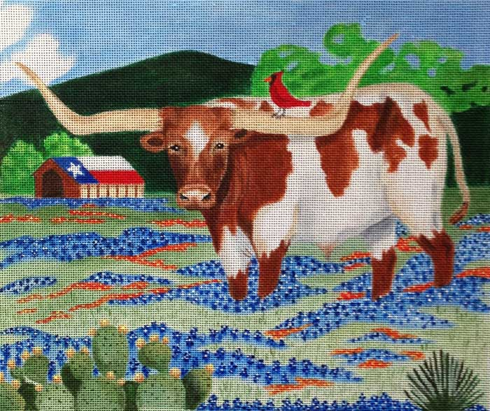 click here to view larger image of Longhorn Summer  (hand painted canvases)