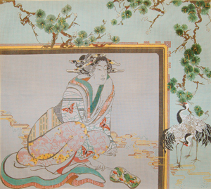 click here to view larger image of Geisha/Japanese Cranes/Pines  (hand painted canvases)